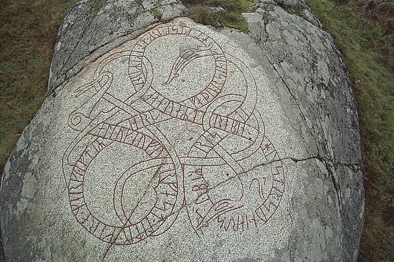 Runes written on berghäll, granit. Date: V